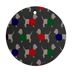 Cute Dachshund Dogs Wearing Jumpers Wallpaper Pattern Background Round Ornament (two Sides)