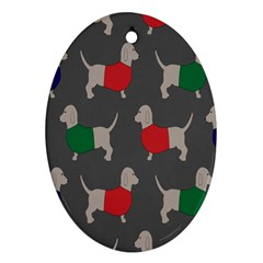 Cute Dachshund Dogs Wearing Jumpers Wallpaper Pattern Background Oval Ornament (two Sides)