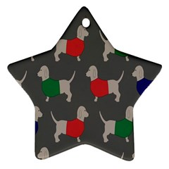 Cute Dachshund Dogs Wearing Jumpers Wallpaper Pattern Background Star Ornament (two Sides)