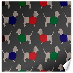 Cute Dachshund Dogs Wearing Jumpers Wallpaper Pattern Background Canvas 20  X 20