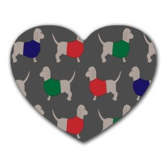 Cute Dachshund Dogs Wearing Jumpers Wallpaper Pattern Background Heart Mousepads