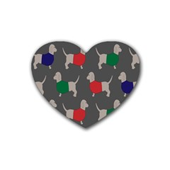 Cute Dachshund Dogs Wearing Jumpers Wallpaper Pattern Background Heart Coaster (4 Pack)