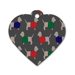 Cute Dachshund Dogs Wearing Jumpers Wallpaper Pattern Background Dog Tag Heart (one Side)