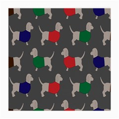 Cute Dachshund Dogs Wearing Jumpers Wallpaper Pattern Background Medium Glasses Cloth (2-Side)
