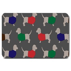 Cute Dachshund Dogs Wearing Jumpers Wallpaper Pattern Background Large Doormat