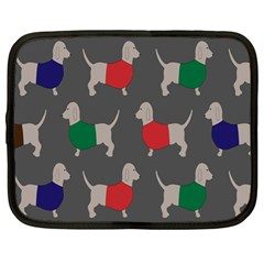 Cute Dachshund Dogs Wearing Jumpers Wallpaper Pattern Background Netbook Case (large)