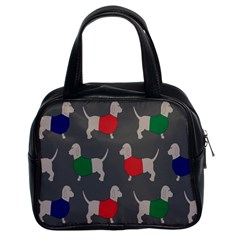 Cute Dachshund Dogs Wearing Jumpers Wallpaper Pattern Background Classic Handbags (2 Sides)