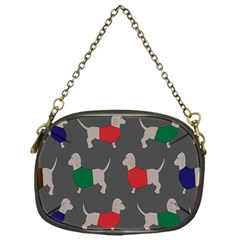 Cute Dachshund Dogs Wearing Jumpers Wallpaper Pattern Background Chain Purses (one Side)