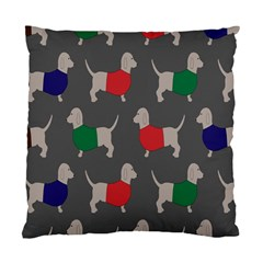 Cute Dachshund Dogs Wearing Jumpers Wallpaper Pattern Background Standard Cushion Case (two Sides)
