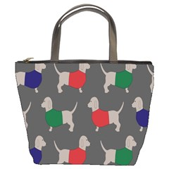 Cute Dachshund Dogs Wearing Jumpers Wallpaper Pattern Background Bucket Bags
