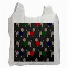 Cute Dachshund Dogs Wearing Jumpers Wallpaper Pattern Background Recycle Bag (one Side)