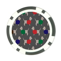 Cute Dachshund Dogs Wearing Jumpers Wallpaper Pattern Background Poker Chip Card Guard (10 Pack)
