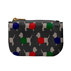 Cute Dachshund Dogs Wearing Jumpers Wallpaper Pattern Background Mini Coin Purses
