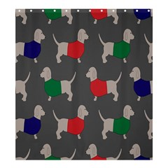 Cute Dachshund Dogs Wearing Jumpers Wallpaper Pattern Background Shower Curtain 66  X 72  (large)