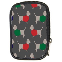 Cute Dachshund Dogs Wearing Jumpers Wallpaper Pattern Background Compact Camera Cases