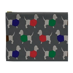 Cute Dachshund Dogs Wearing Jumpers Wallpaper Pattern Background Cosmetic Bag (xl)