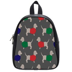 Cute Dachshund Dogs Wearing Jumpers Wallpaper Pattern Background School Bags (small)