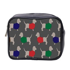 Cute Dachshund Dogs Wearing Jumpers Wallpaper Pattern Background Mini Toiletries Bag 2 Side
