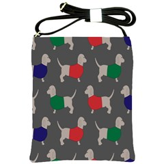 Cute Dachshund Dogs Wearing Jumpers Wallpaper Pattern Background Shoulder Sling Bags