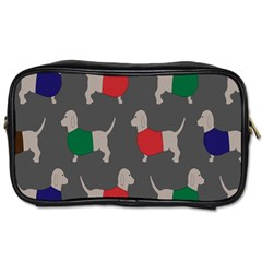 Cute Dachshund Dogs Wearing Jumpers Wallpaper Pattern Background Toiletries Bags 2 Side
