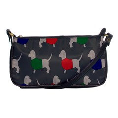 Cute Dachshund Dogs Wearing Jumpers Wallpaper Pattern Background Shoulder Clutch Bags