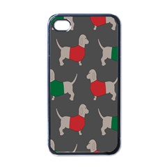 Cute Dachshund Dogs Wearing Jumpers Wallpaper Pattern Background Apple Iphone 4 Case (black)