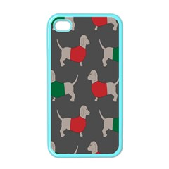 Cute Dachshund Dogs Wearing Jumpers Wallpaper Pattern Background Apple Iphone 4 Case (color)