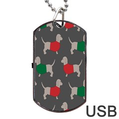 Cute Dachshund Dogs Wearing Jumpers Wallpaper Pattern Background Dog Tag Usb Flash (two Sides)