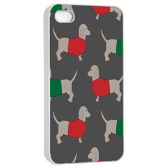 Cute Dachshund Dogs Wearing Jumpers Wallpaper Pattern Background Apple Iphone 4/4s Seamless Case (white)