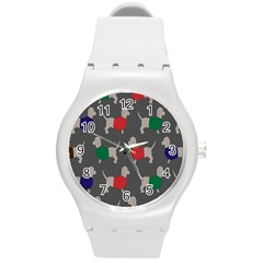 Cute Dachshund Dogs Wearing Jumpers Wallpaper Pattern Background Round Plastic Sport Watch (m)