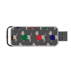 Cute Dachshund Dogs Wearing Jumpers Wallpaper Pattern Background Portable Usb Flash (one Side)