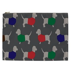 Cute Dachshund Dogs Wearing Jumpers Wallpaper Pattern Background Cosmetic Bag (xxl)