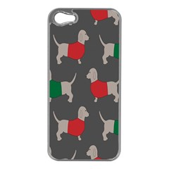 Cute Dachshund Dogs Wearing Jumpers Wallpaper Pattern Background Apple Iphone 5 Case (silver)