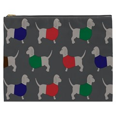 Cute Dachshund Dogs Wearing Jumpers Wallpaper Pattern Background Cosmetic Bag (xxxl)