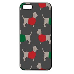 Cute Dachshund Dogs Wearing Jumpers Wallpaper Pattern Background Apple Iphone 5 Seamless Case (black)