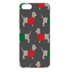 Cute Dachshund Dogs Wearing Jumpers Wallpaper Pattern Background Apple Iphone 5 Seamless Case (white)