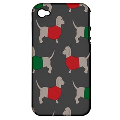 Cute Dachshund Dogs Wearing Jumpers Wallpaper Pattern Background Apple Iphone 4/4s Hardshell Case (pc+silicone)