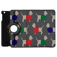 Cute Dachshund Dogs Wearing Jumpers Wallpaper Pattern Background Apple Ipad Mini Flip 360 Case