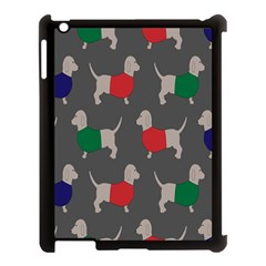 Cute Dachshund Dogs Wearing Jumpers Wallpaper Pattern Background Apple Ipad 3/4 Case (black)
