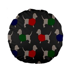 Cute Dachshund Dogs Wearing Jumpers Wallpaper Pattern Background Standard 15  Premium Round Cushions