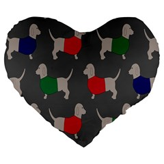 Cute Dachshund Dogs Wearing Jumpers Wallpaper Pattern Background Large 19  Premium Heart Shape Cushions