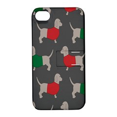 Cute Dachshund Dogs Wearing Jumpers Wallpaper Pattern Background Apple Iphone 4/4s Hardshell Case With Stand