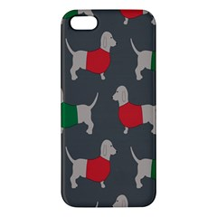 Cute Dachshund Dogs Wearing Jumpers Wallpaper Pattern Background Apple Iphone 5 Premium Hardshell Case