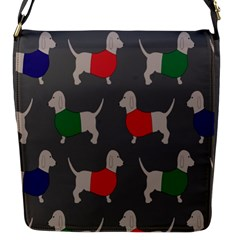 Cute Dachshund Dogs Wearing Jumpers Wallpaper Pattern Background Flap Messenger Bag (s)