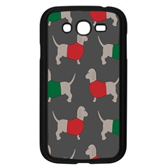 Cute Dachshund Dogs Wearing Jumpers Wallpaper Pattern Background Samsung Galaxy Grand Duos I9082 Case (black)