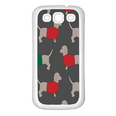 Cute Dachshund Dogs Wearing Jumpers Wallpaper Pattern Background Samsung Galaxy S3 Back Case (white)
