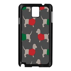 Cute Dachshund Dogs Wearing Jumpers Wallpaper Pattern Background Samsung Galaxy Note 3 N9005 Case (black)