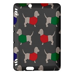Cute Dachshund Dogs Wearing Jumpers Wallpaper Pattern Background Kindle Fire Hdx Hardshell Case