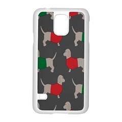 Cute Dachshund Dogs Wearing Jumpers Wallpaper Pattern Background Samsung Galaxy S5 Case (white)