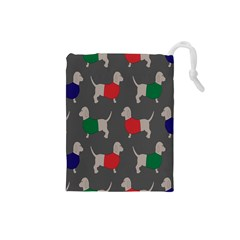 Cute Dachshund Dogs Wearing Jumpers Wallpaper Pattern Background Drawstring Pouches (small)